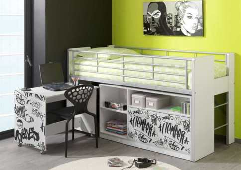moderne halfhoogslaper bed met bureau nieuw. Black Bedroom Furniture Sets. Home Design Ideas